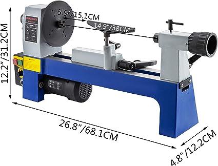 VEVOR Torno para Madera de Velocidad Variable 500-3200RPM 20 x 30 cm Torno de Madera para Taladro Torno de Madera de Mesa