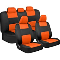 $25 » BDK PolyPro Car Seat Covers, Full Set in Orange on Black – Front and Rear Split Bench Protection,…