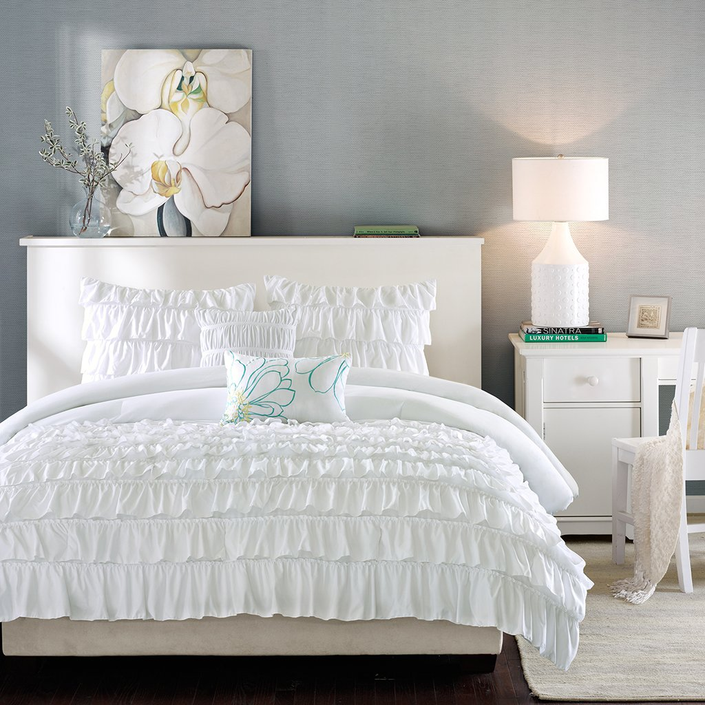ruffles waterfall features pin sets set this white comforter which ruffle princess exquisite