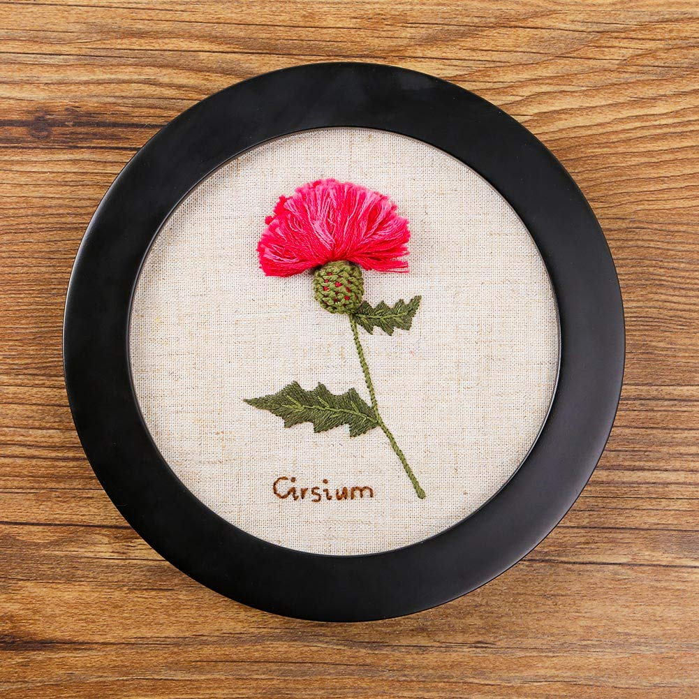 and Needles Imitated Wood Rubber Embroidery Hoop Stamped Pattern Ideal Gift for Children Cole Flowers Akacraft Chinese FlowersPick Series DIY Embroidery Starter Kit Color Threads
