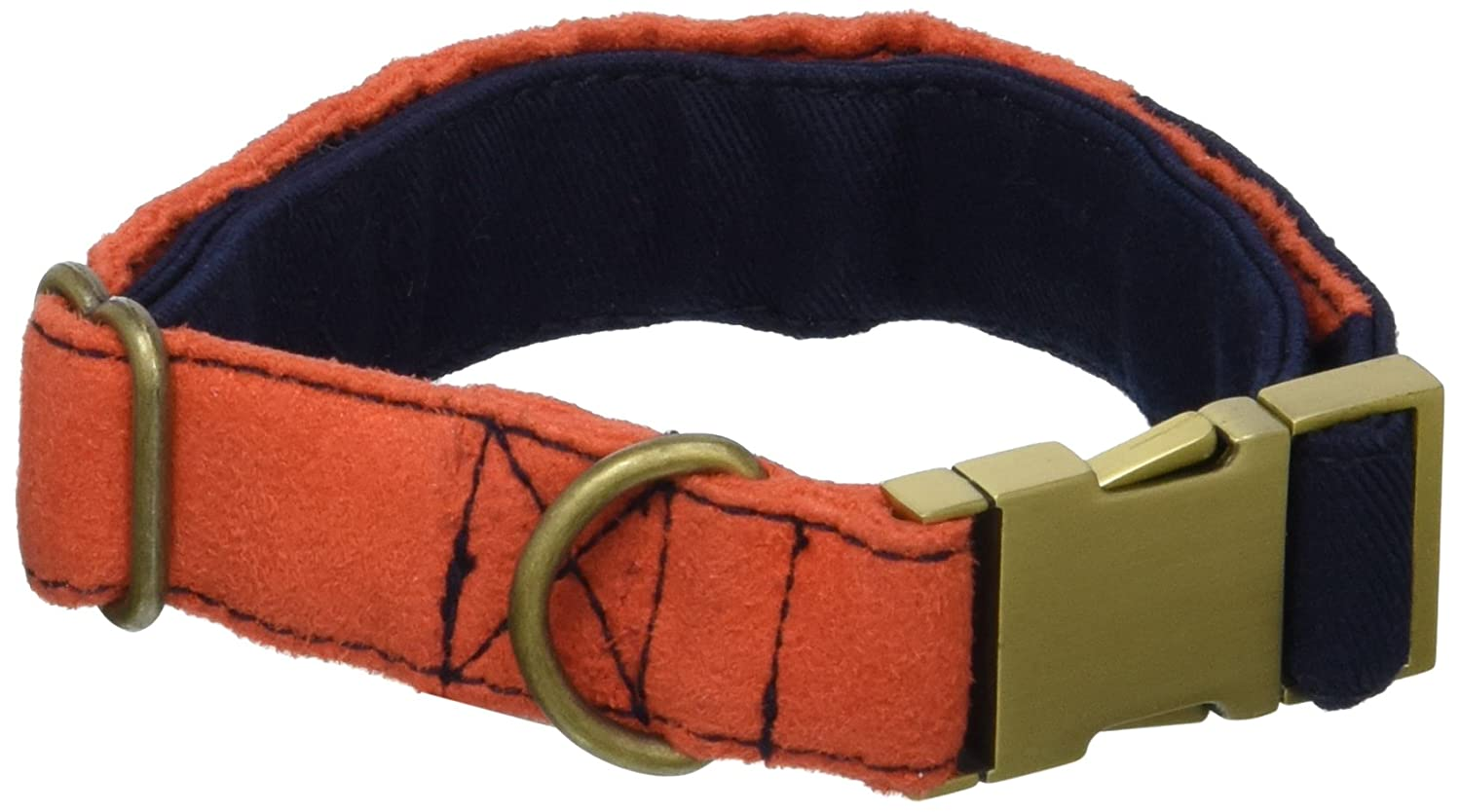 orange Blinks  One in a Million Collar, orange Suede and Dark bluee Twill with Bronze Metal Buckle, Medium, orange Dark bluee