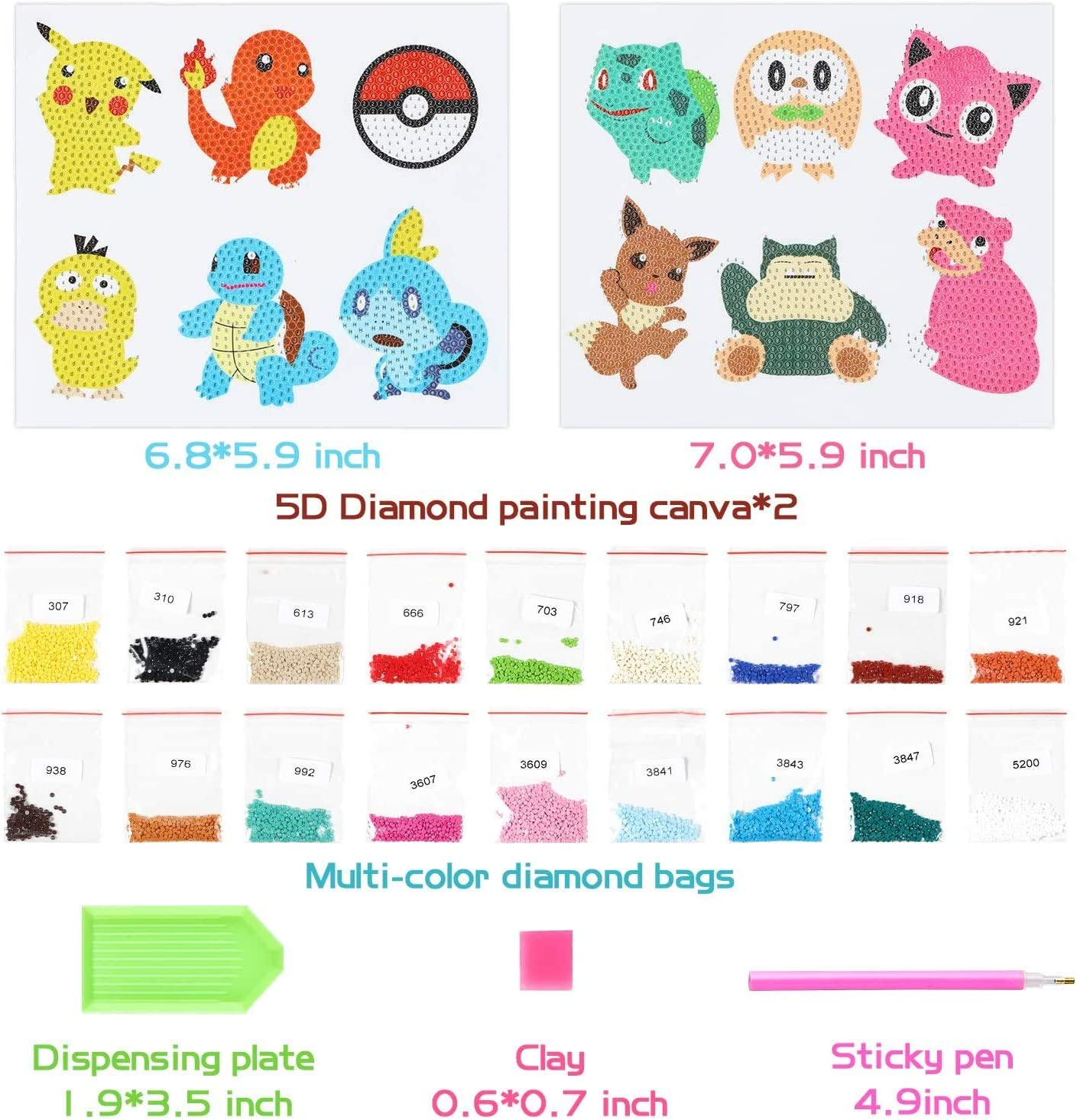 YINEW Diamond Painting-DIY 5D Diamond Painting Kits for Adults and Beginners 12 Pcs Pikachu Diamond Art Mosaic Stickers by Numbers Kits