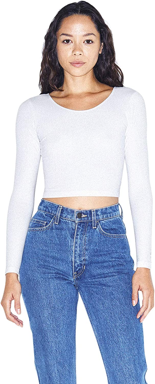 American Apparel Womens Cotton Spandex Jersey Long Sleeve Crop Top