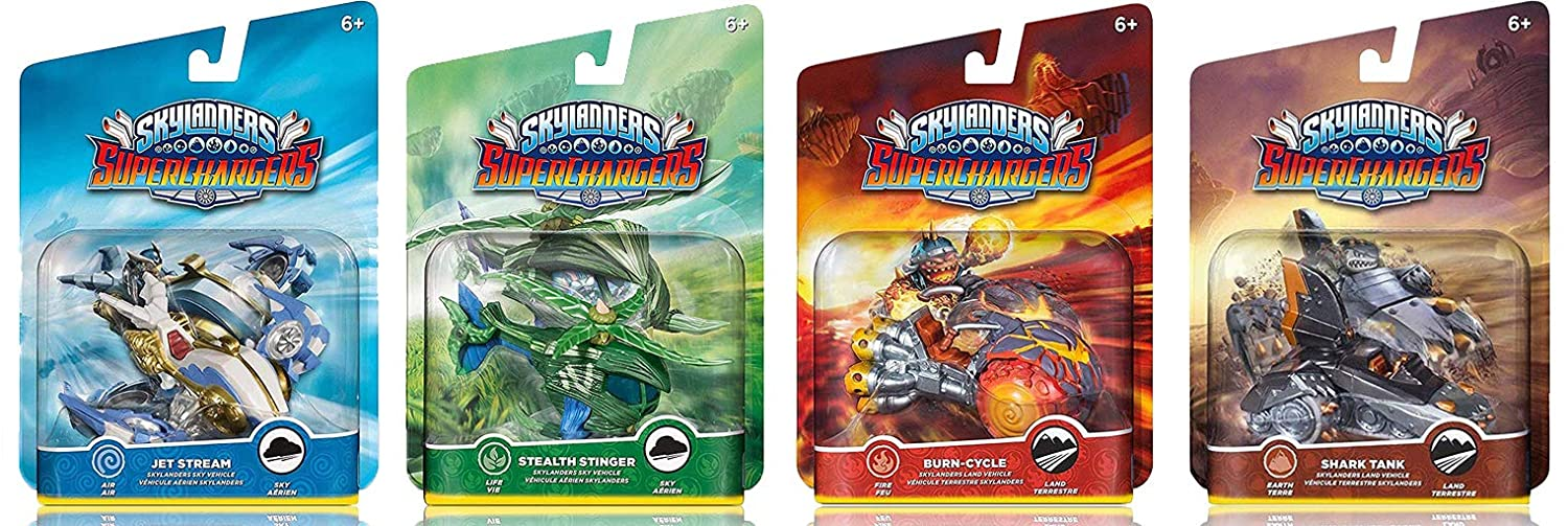 Skylanders SuperChargers Vehicle Character 4 Pack Bundle - Jet Stream , Stealth Stinger , Shark Tank , Burn Cycle - Air , Life , Earth , Fire Kit