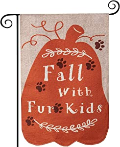 hogardeck Fall Garden Flag Vertical Double Sided Yard Flag 12.5 x 18 Inch Fall with Fur Kids Farmhouse Autumn Yard Outdoor & Indoor Decor for Cat Dog Person Pet Lovers