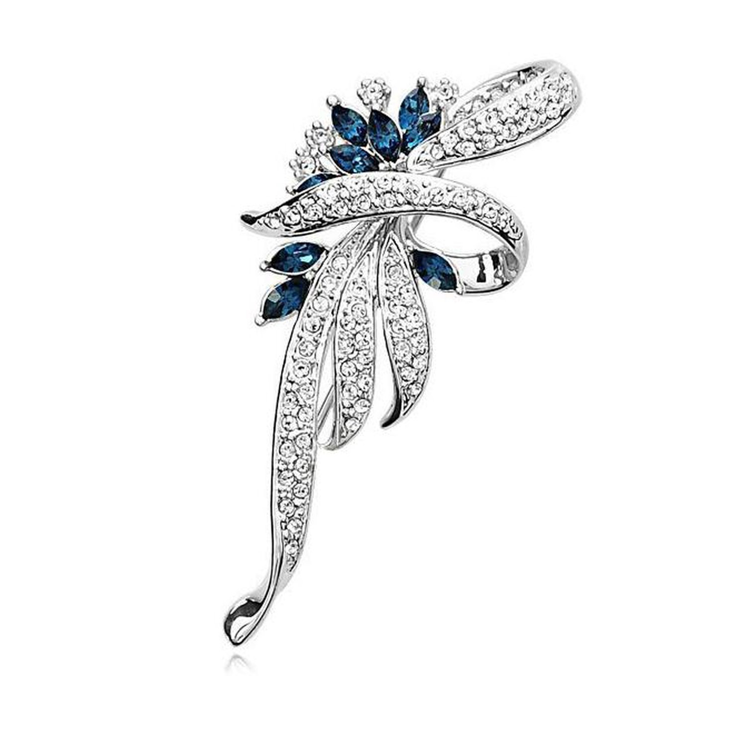 Baolustre Crystal Flower Brooch Lapel Pin Rhinestone Women Wedding Hijab Pins Large Brooches,Silver
