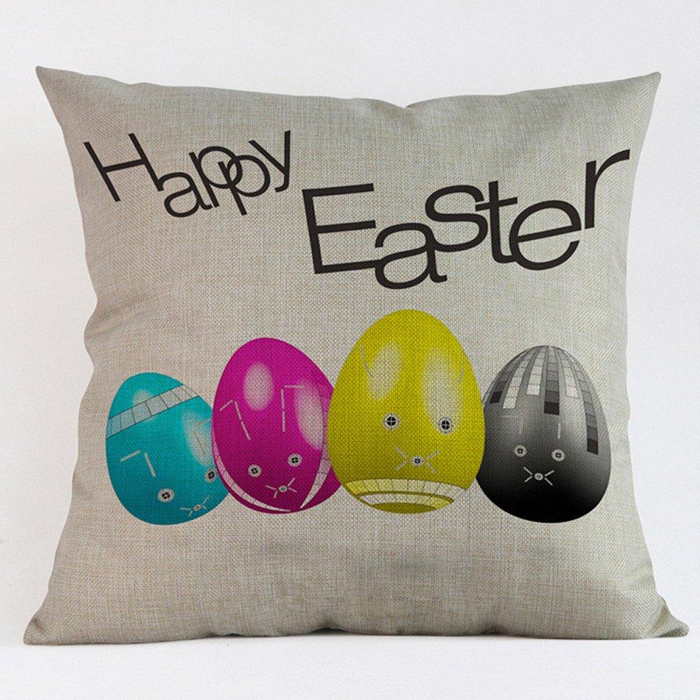 Weiliru Square Decorative Throw Pillows Cushion Covers Cotton Linen Easter Decor Modern Geometry Print Home Pillowcases