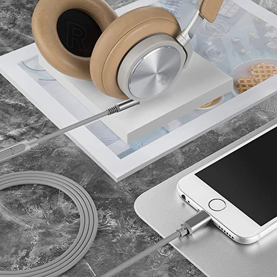 5.5FT Light-ning to 3.5mm Replacement Stereo Audio Cord with Mic for iPhone11 Pro Max H6 H4 Geekria QuickFit Digital Cable for B/&O H9i H8i H2 H8 H7 Beoplay H9 3rd gen Headphones iPhoneXS XR