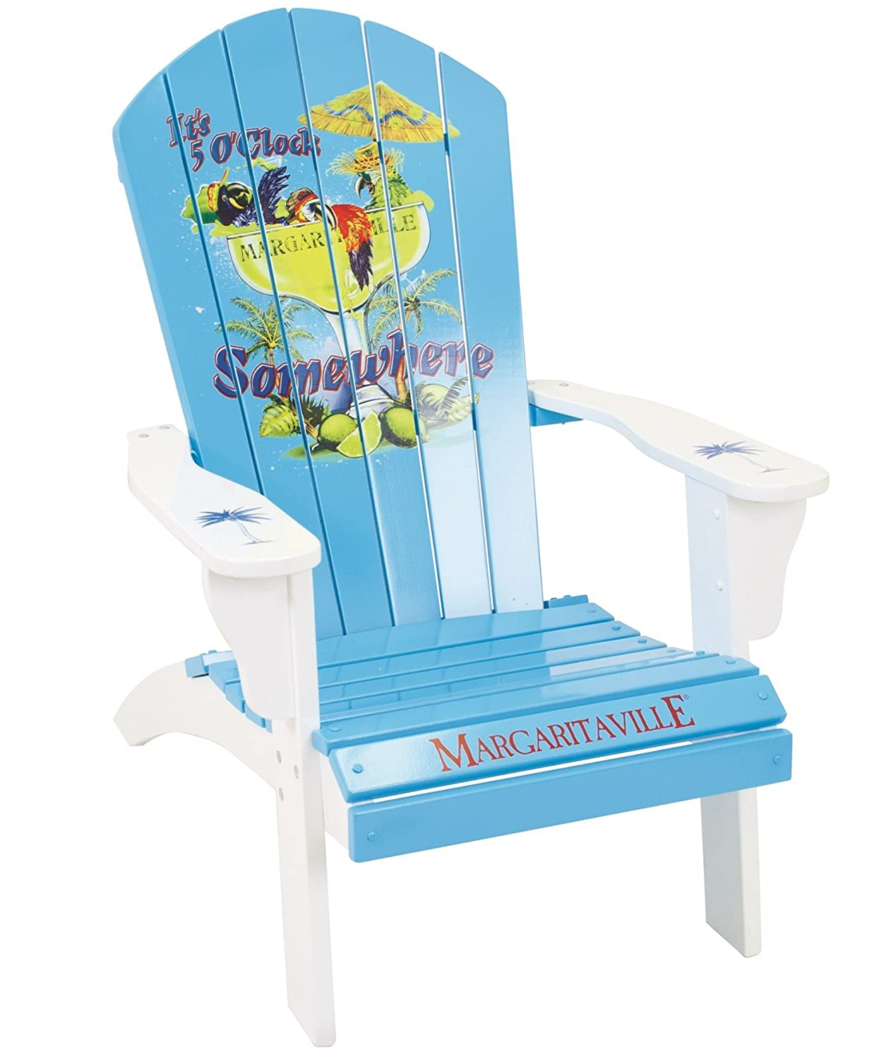 Amazon.com : Margaritaville Outdoor Adirondack Chair, Itu0027s 5 Ou0027clock  Somewhere, Light Blue : Patio, Lawn U0026 Garden