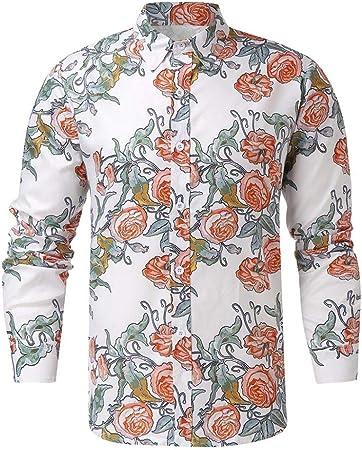 YFSLC-Studio Camisa De Manga Larga Hombre,Patrón Floral ...