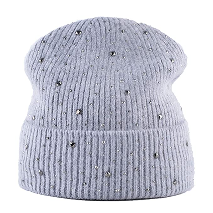 18e639ea8b8 Image Unavailable. Image not available for. Color  ANDERDM Winter Hats for  Women Fashion Knitted Beanies Cap Skullies Rhinestones caps Girl ...