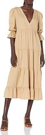The Drop Vestido para Mujer, Belle Midi Escalonado con Escote en Pico y Mangas Abullonadas