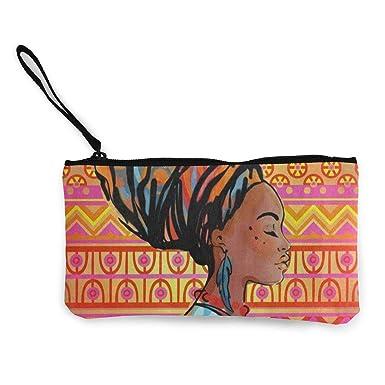 Amazon.com: Monedero de lona hermosa mujer africana floral ...