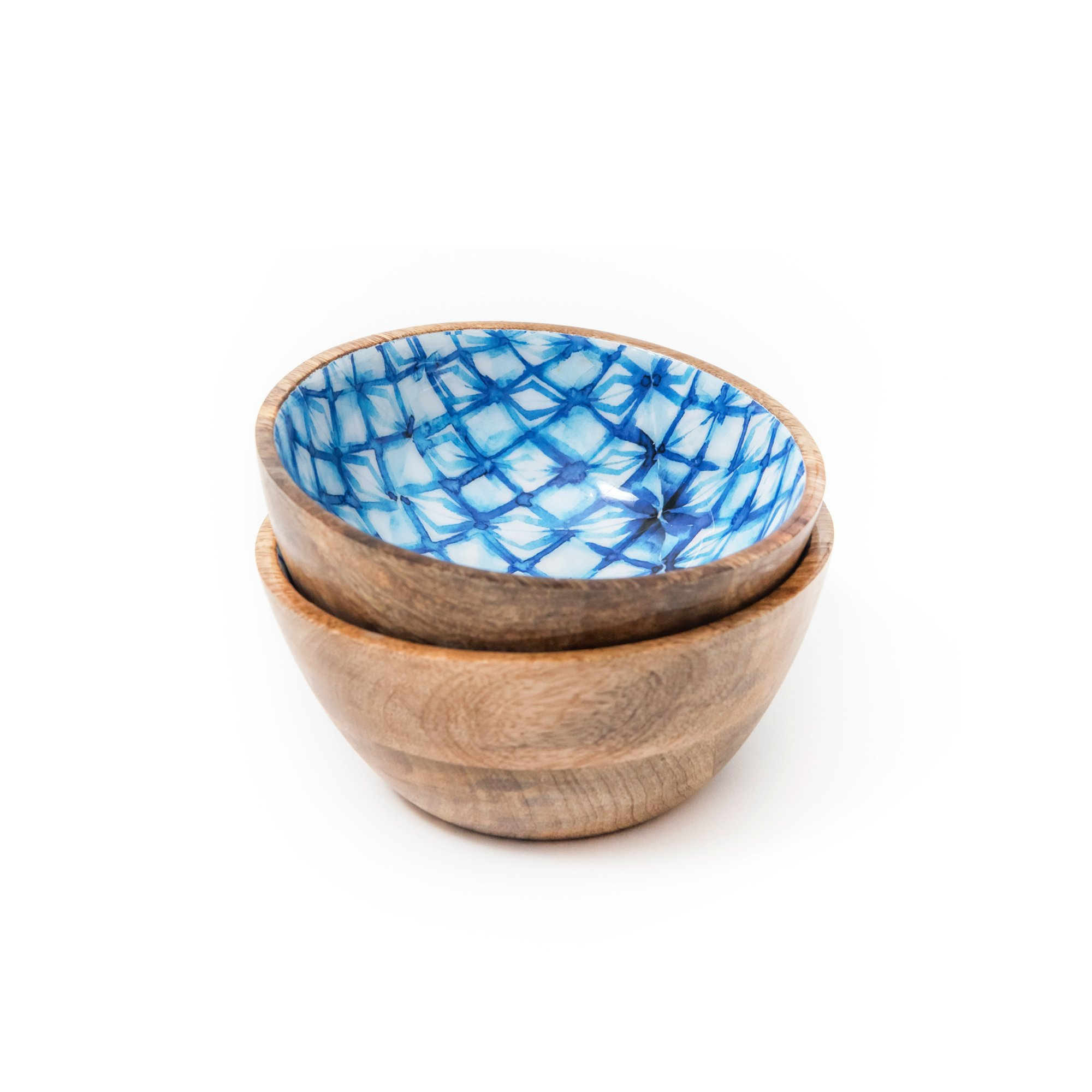 Wooden Salad Bowls Set of 2, Colorful Decorative Serving Mango Wood Bowl Set for Food, Fruits, Cereals, Desserts - 20 Ounces, 6 Inch Diameter x 3 Inch Height, Indigo Blue Shibori