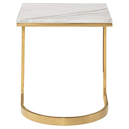 Amazoncom Nata Hollywood White Marble Brass Horse Shoe End Table - Marble and brass end table