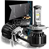 CougarMotor H4 (9003 High/Low) LED Headlight Bulbs All-in-One Conversion Kit,7200 Lumen (6000K Cool White)