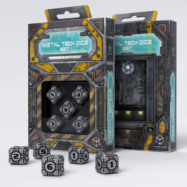 Q-Workshop Set of 5 Q Workshop QWOMTD35 Metal Tech D6 Dice RPG Box Board Game