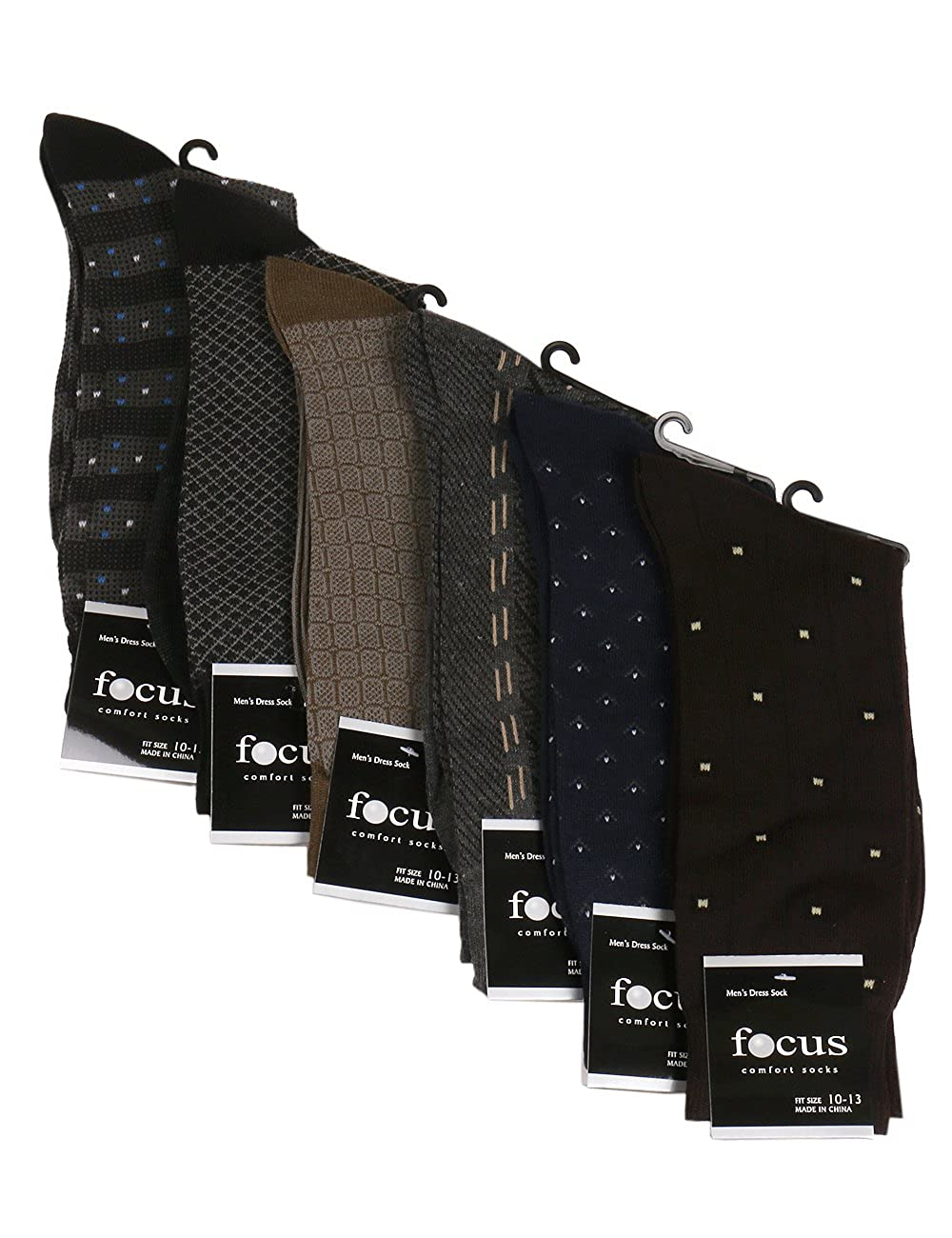 Men's Dress Socks 6 Pack- Comfort and Style. Crew length in Classic Solid Colors, All Black, Design, or Argyle. FC60
