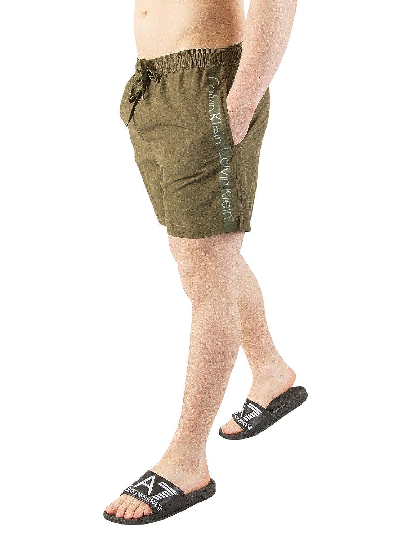 TALLA L. Calvin Klein Hombre Shorts de baño con cordones medianos, Verde