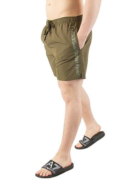 bb4a48113217 Calvin Klein Hombre Shorts de baño con cordones medianos, Verde ...