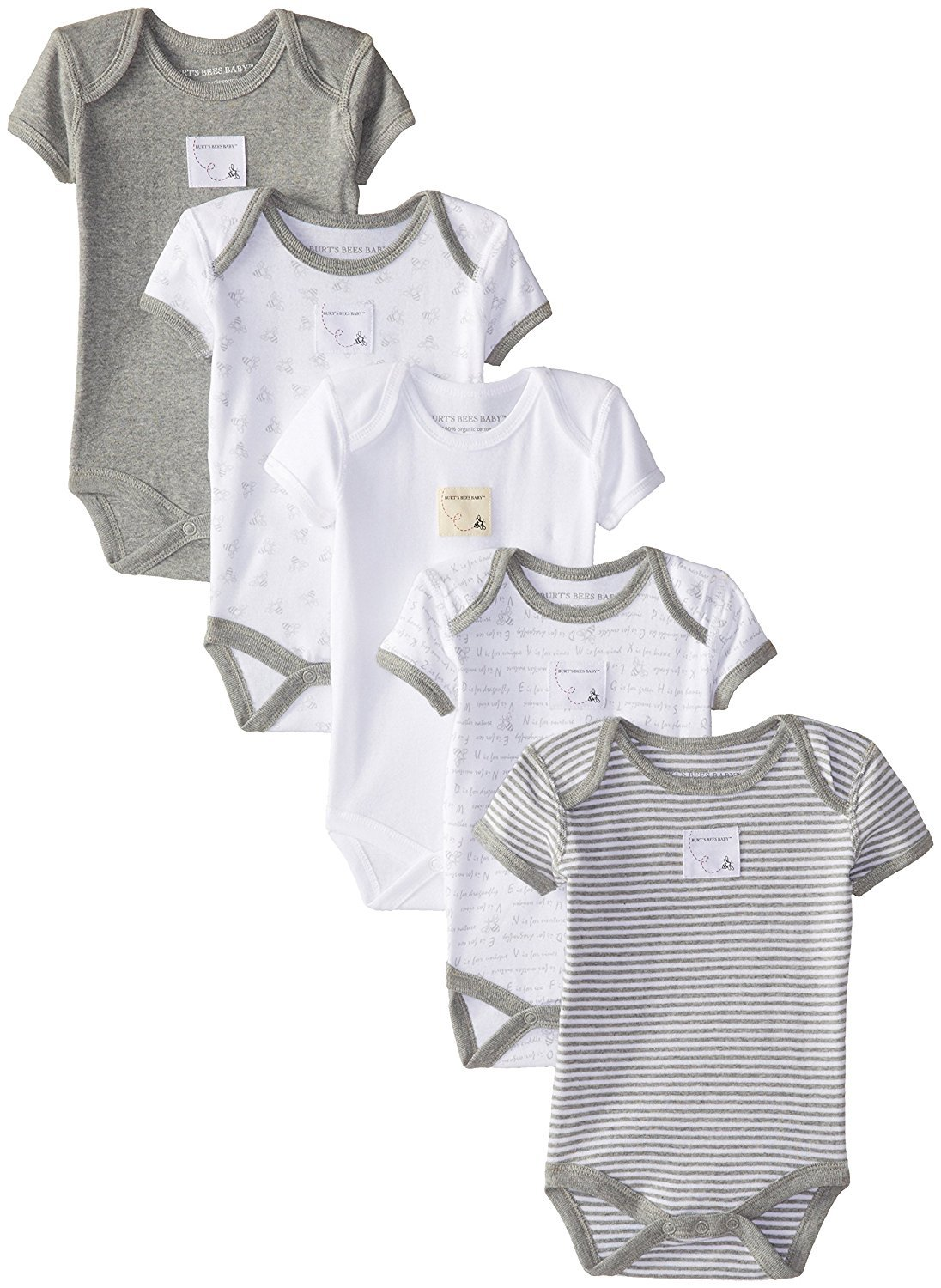 Burt's Bees Baby - Set of 5 Bee Essentials Short Sleeve Bodysuits, 100% Organic Cotton, Heather Grey Prints (3-6 Months)