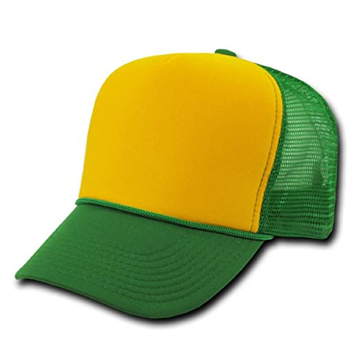 35ba875f248c07 Image Unavailable. Image not available for. Color: Kelly Green and Yellow  Mesh Trucker Style Cap Hat Caps Hats Adjustable