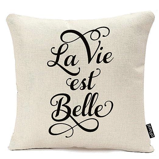 Funda de Almohada Cuadrada La Vie EST Belle, La Vida es ...