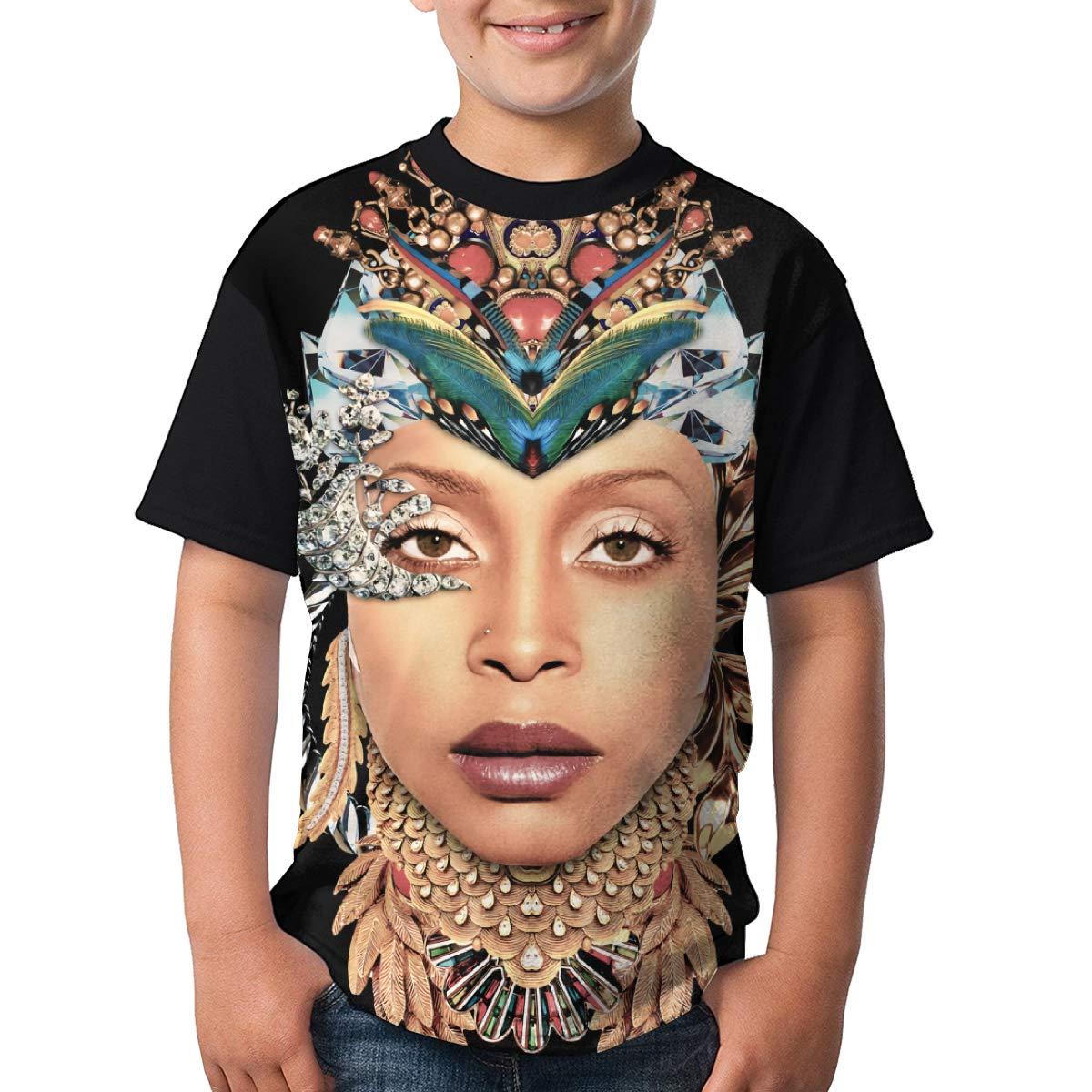 Deborah E Freeman Erykah Badu T Shirts Youth Round Neck Shirt Teenager Boys Personality Tees