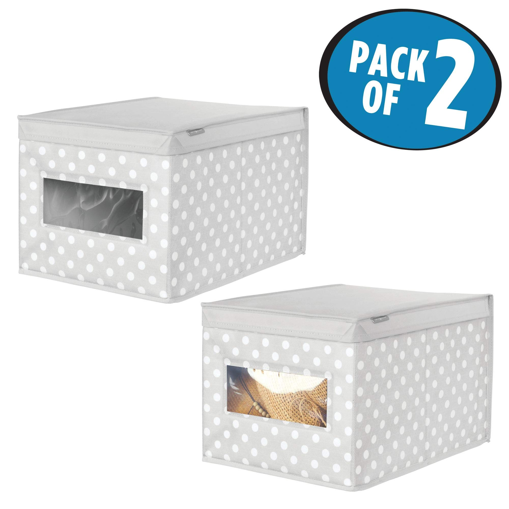 mDesign Soft Stackable Fabric Closet Storage Organizer Holder Box - Clear Window, Attached Hinged Lid, for Child/Kids Room, Nursery - Polka Dot Pattern - Large, Pack of 2, Light Gray with White Dots by mDesign (Image #2)