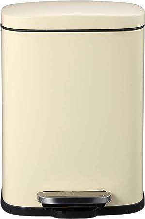 Mari Home Contenedor de Reciclaje   Cubo Basura 5L con Tapa Plana   para Dormitorio, Baño, Cocina, Jardín   Pedal y Cubo Interno   Crema: Amazon.es: Hogar
