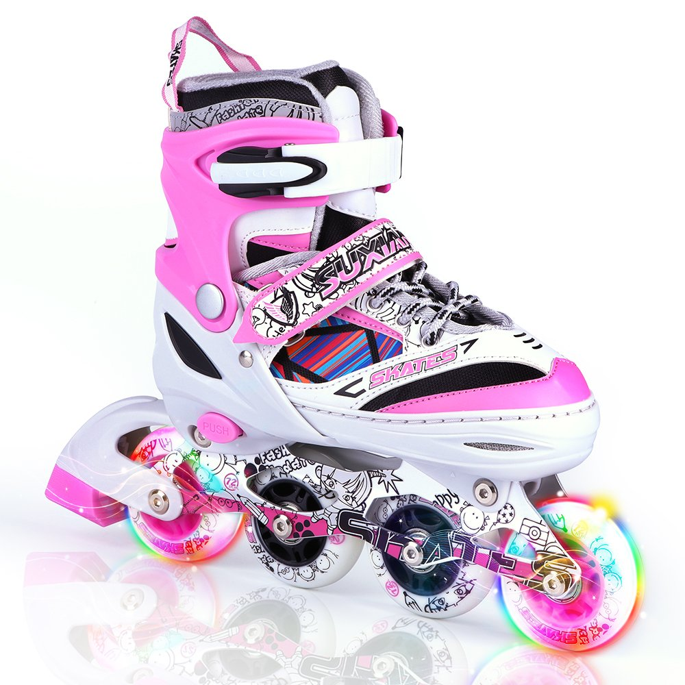 Kuxuan Kids Doodle Design Adjustable Inline Skates with Front and Rear Led Light up Wheels, Comic Style Rollerblades for Boys and Girls - Pink S
