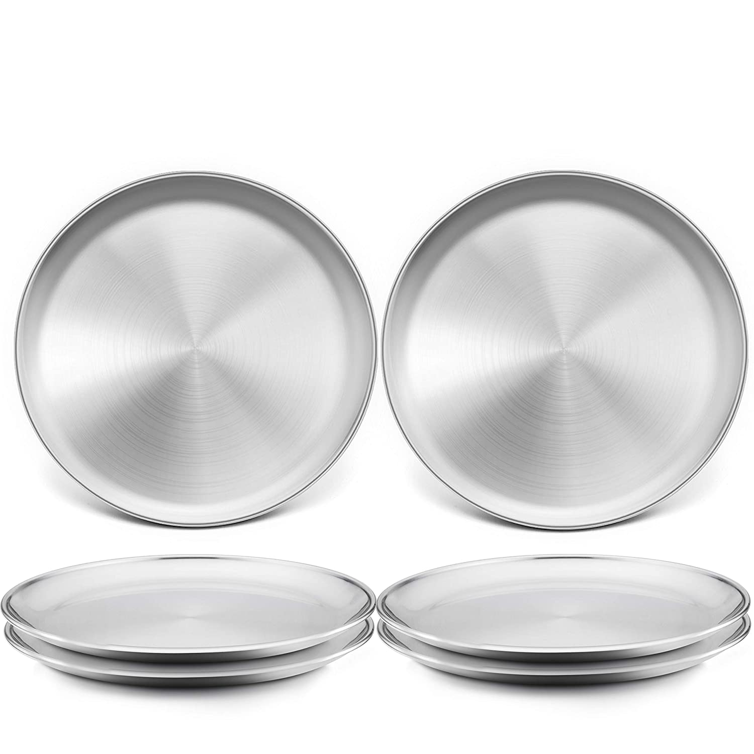 TeamFar Toddler Plates, 8 Inch Stainless Steel Kids Dinner Metal Plates, Round Serving Salad Plates for Camping Outdoor Party, BPA Free & Healthy, Sturdy & Heavy Duty, Dishwasher Safe – Set of 6
