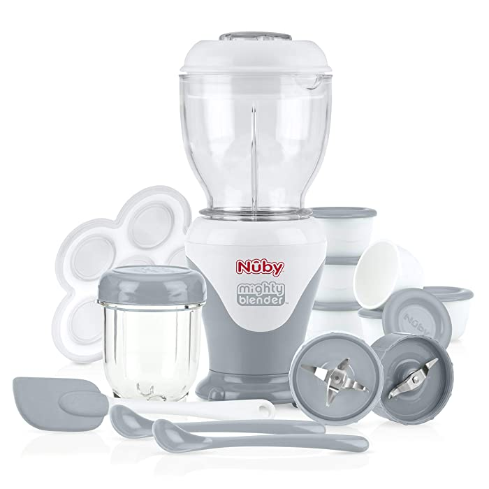 Nuby Mighty Blender with Cook Book, 22Piece Baby Food Maker Set, Cool Gray