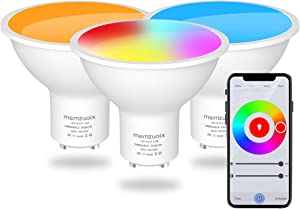 GU10 LED Smart Light Bulbs, Memzuoix 2.4G WiFi Light Bulb Compatible with Alexa Google Home, RGBCW Color 2700-6500K, Smart Color Changing Light Bulb for Recessed Track Lighting, APP Control, Pack of 3