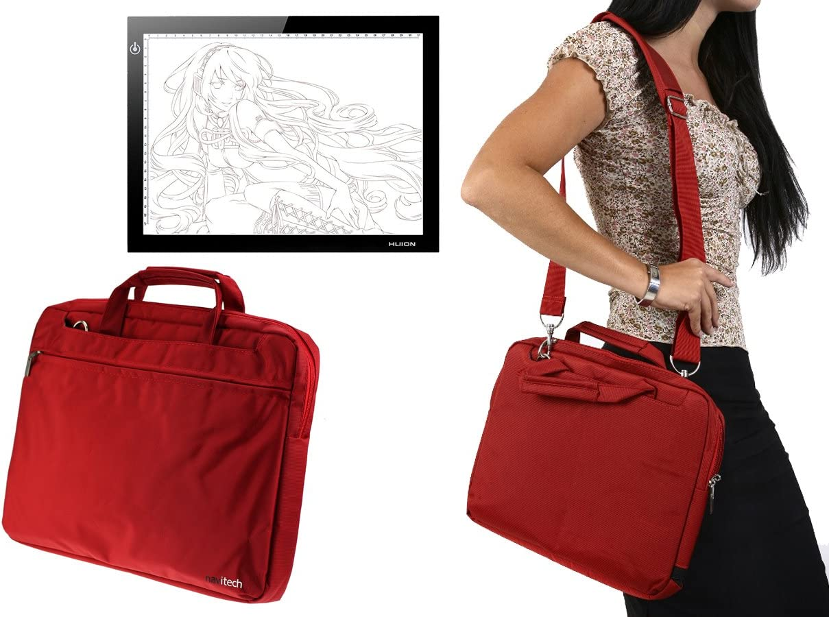 Navitech Red Graphics Tablet Case//Bag Compatible with The HINIDD 8.5 LCD Writing Tablet