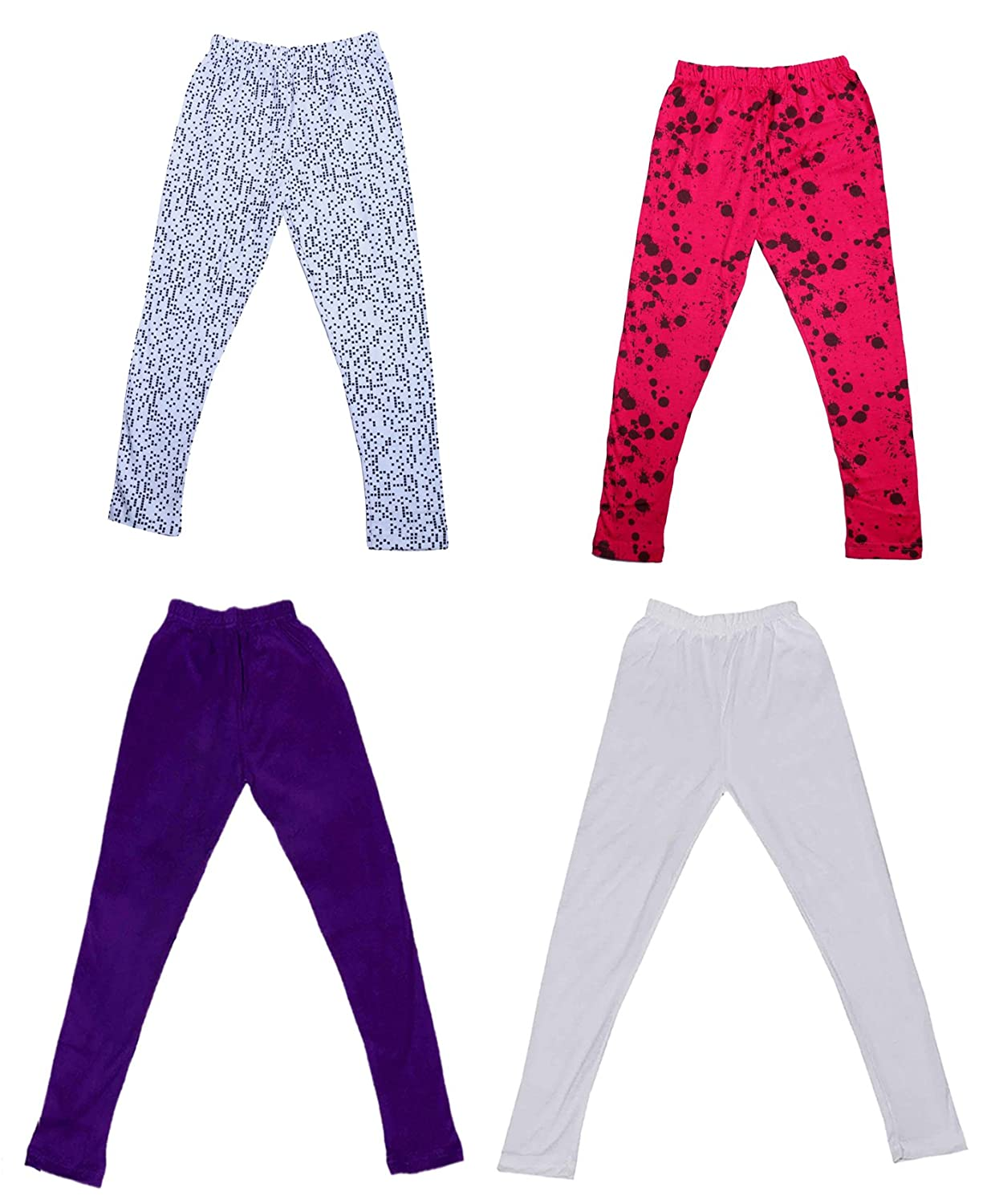 Indistar Girls 2 Cotton Solid Legging Pants Pack Of 4 and 2 Cotton Printed Legging Pants /_Multicolor/_Size-4-5 Years/_71402032021-IW-P4-26