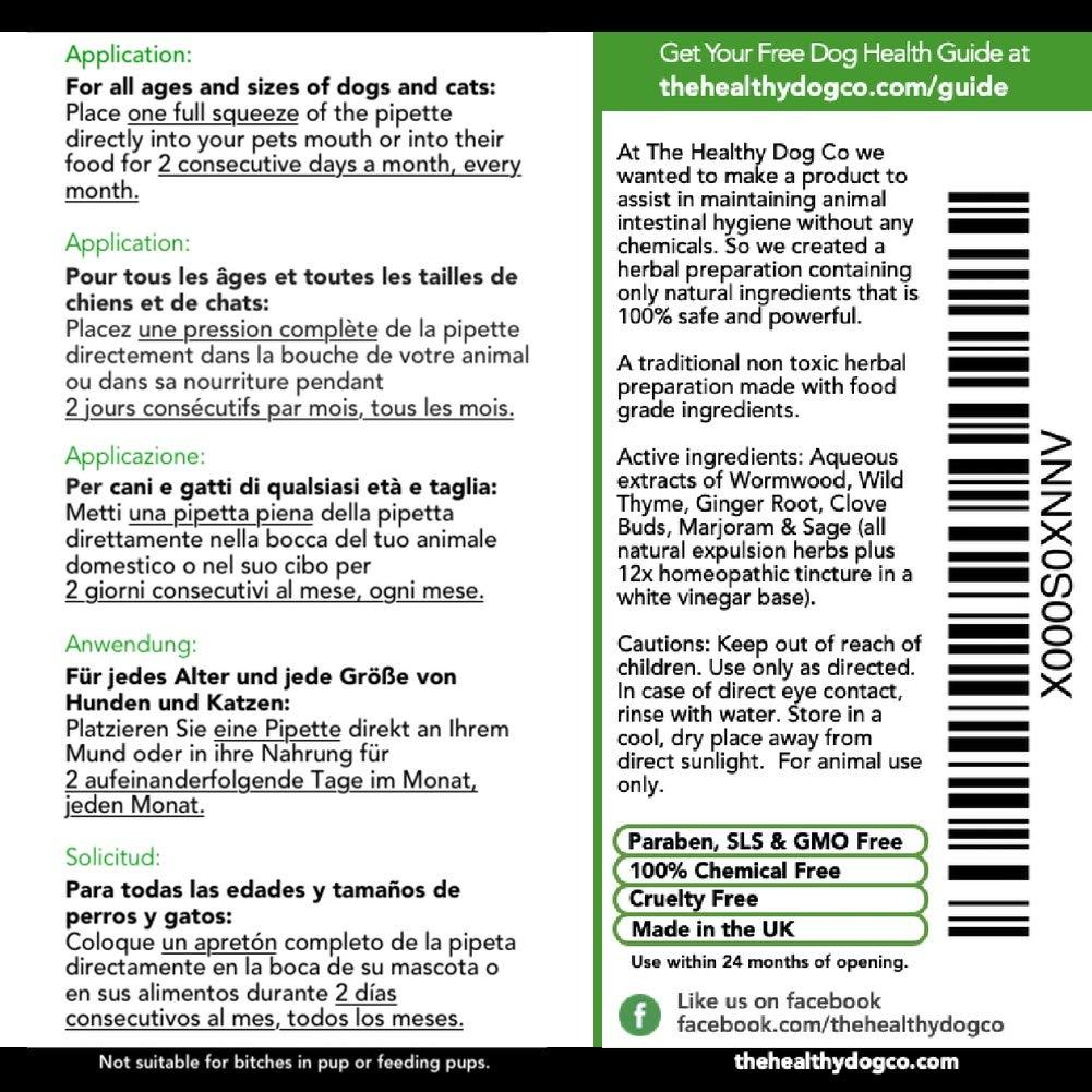 Tratamiento completamente natural para lombrices en perros y gatos | Más fácil de administrar que las pastillas | Suministro para 1-2 años | El producto más ...