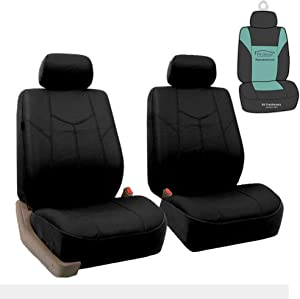 FH Group PU009102 Rome PU Leather Pair Set Car Seat Covers, Airbag Compatible, Solid Black - Fit Most Car, Truck, SUV, or Van