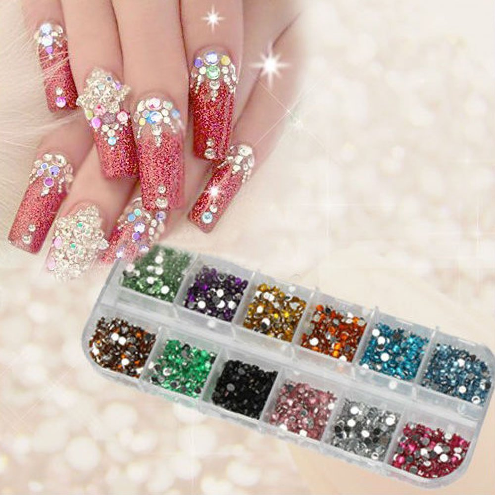 Amazon 1200pcs New Nail Art Rhinestones Glitters Acrylic Tips Decoration Manicure Wheel Beauty