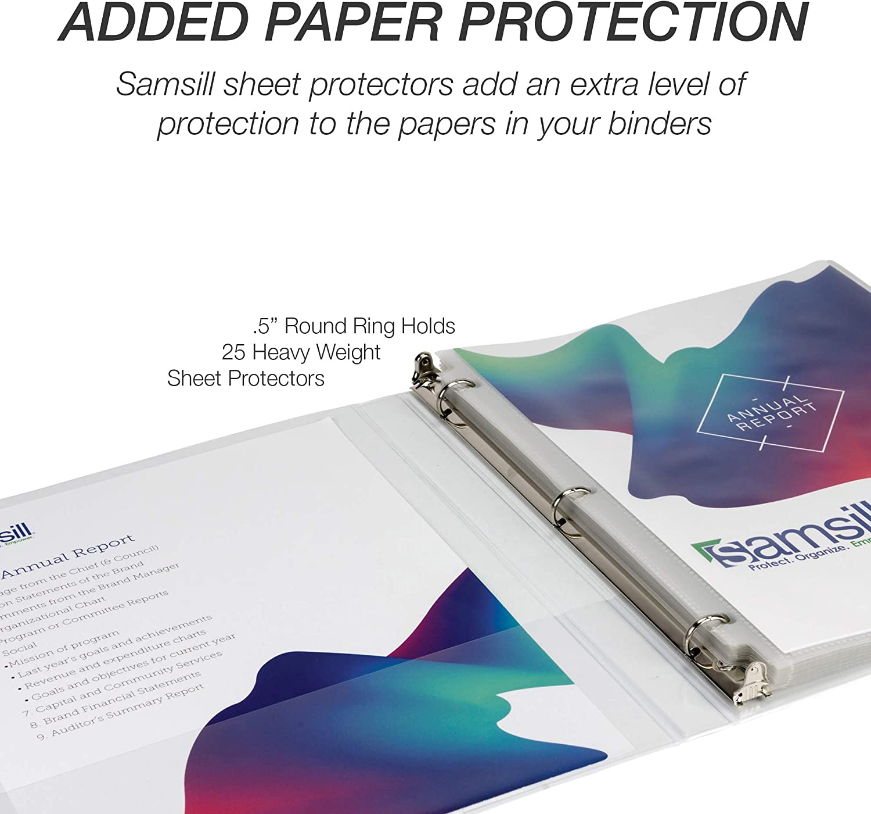 Light Blue Binder Samsill Economy 3 Ring Binder Organizer 2 Inch Round Ring Binder Customizable Clear View Cover
