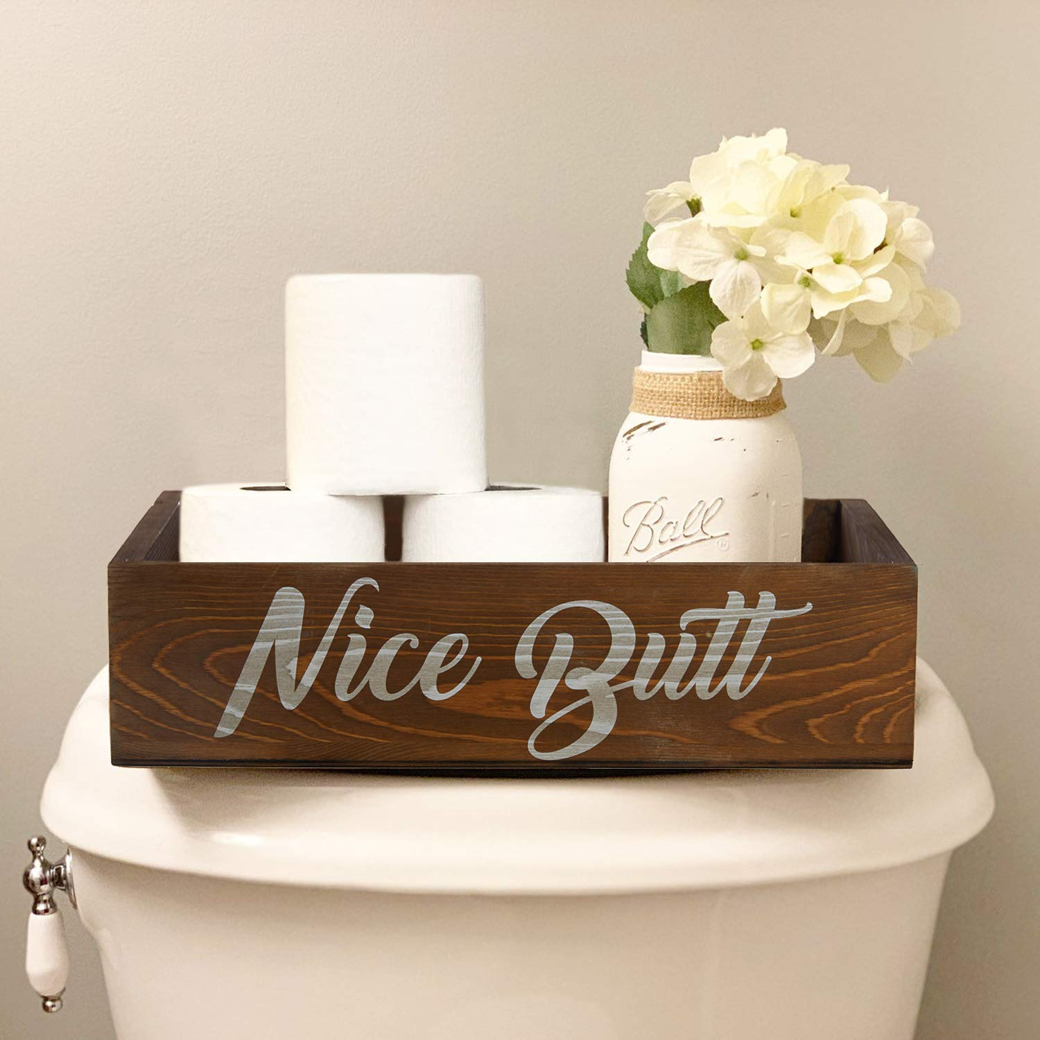 Amugo Farmhouse Bathroom Decor - Nice Butt Bathroom Decor Box - Wooden Bathroom Box, Tiolet Paper Holder, Rustic Home Decor, Funny Bathroom Decor by Amugo