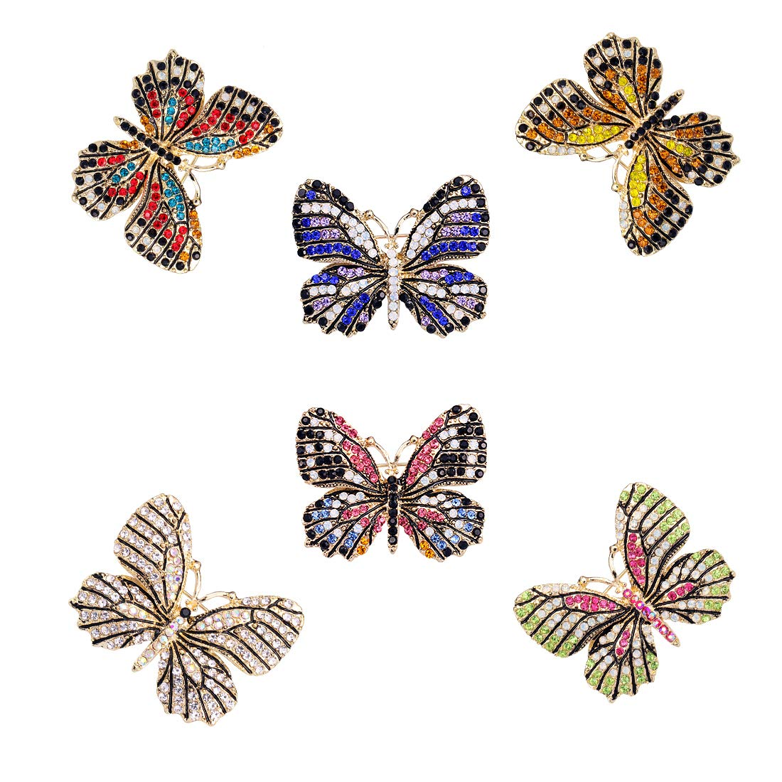 WeimanJewelry Lot6pcs Multicolor Rhinestone Crystal Butterfly Brooch Pin Set for Women by WeimanJewelry (Image #2)