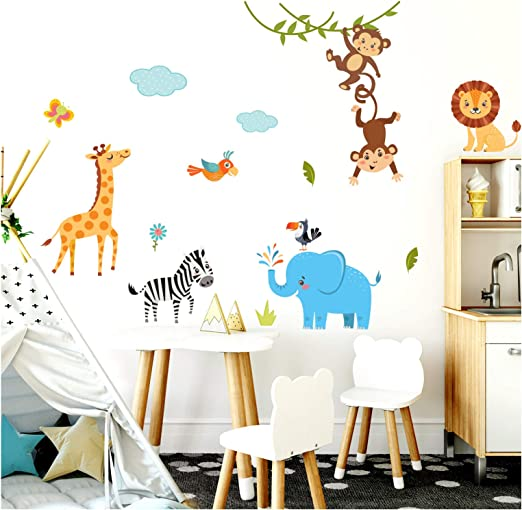 Little Deco Kinderzimmer Wandtattoo Dschungeltiere Affen Elefant I 140 x 78  cm (BxH) I Wandaufkleber Junge Deko Babyzimmer Wandsticker Sticker ...
