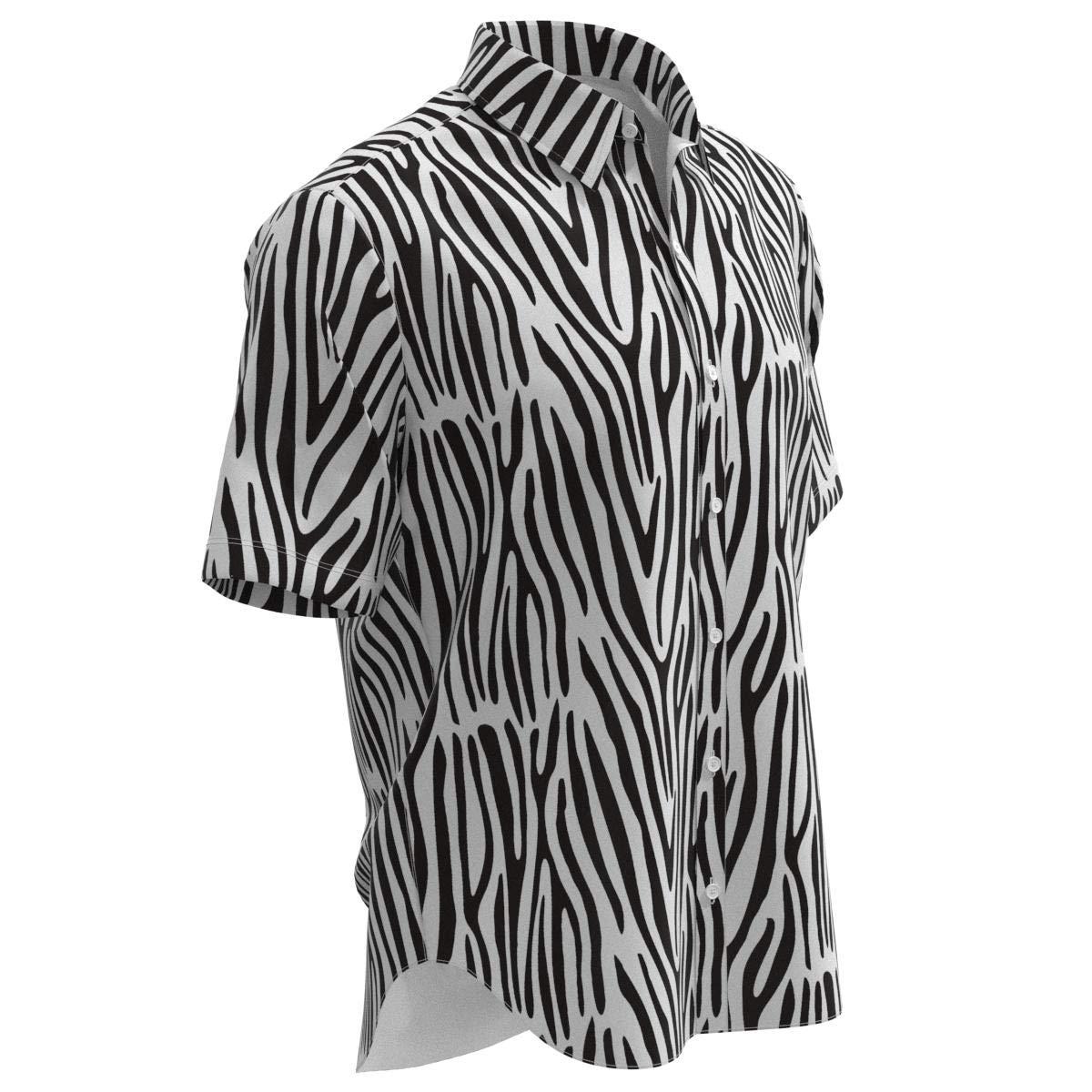 EightyThree XYZ Black White Zebra Stripes Print Men Short Sleeve Button Shirt Size XS-3XL