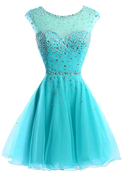 2a3bc12087b Sunvary Gorgeous Rhinestone Chiffon Homecoming Cocktail Gowns Short Size  26W- Turquoise