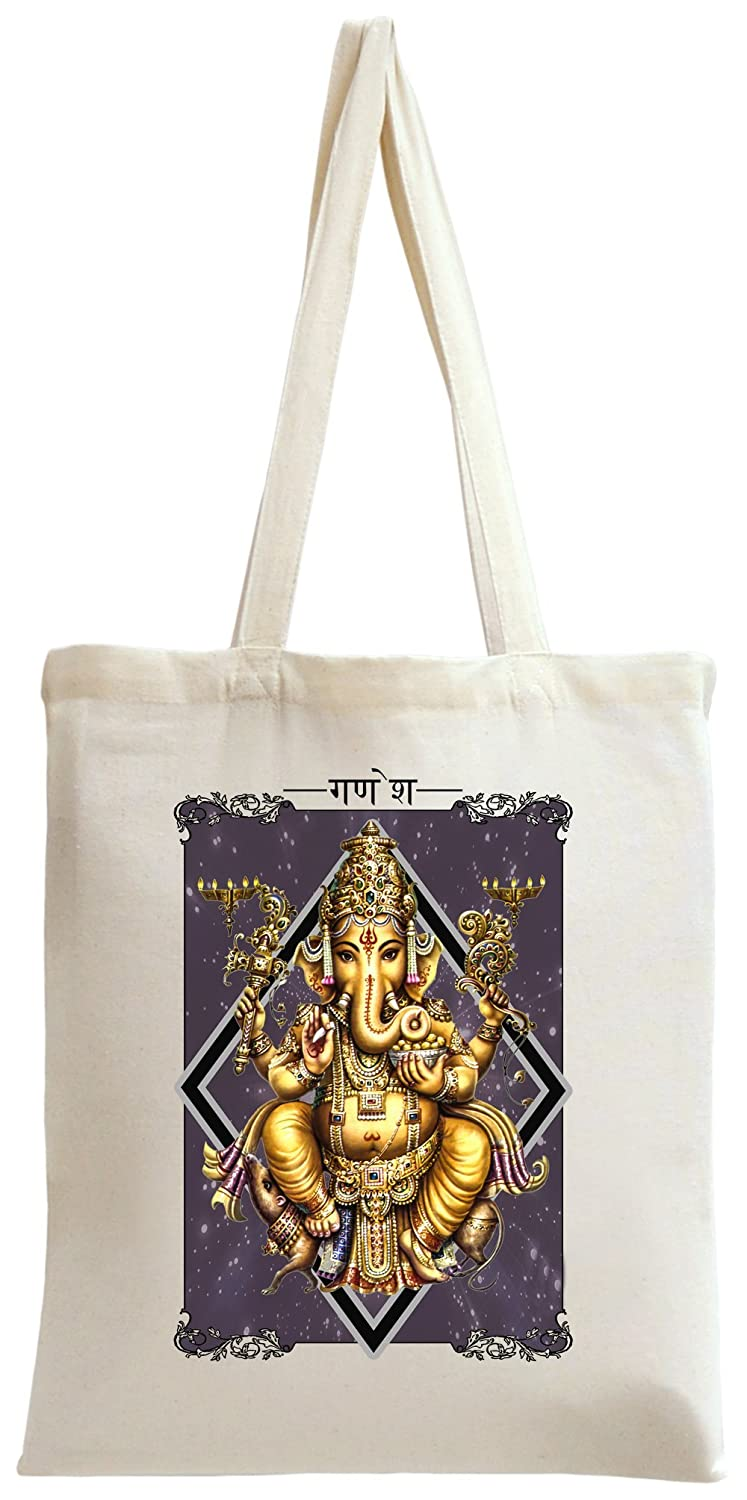 Colourful Ganesha Tote Bag Tote1-OffWht-BEUF
