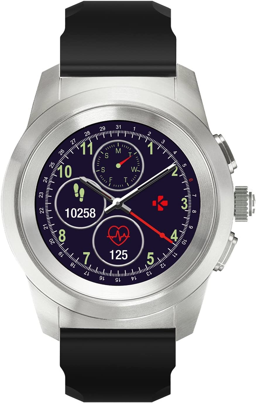MyKronoz ZeTime Original Hybrid Smartwatch 39mm with Mechanical Hands Over a Color Touch Screen – Brushed Silver/Black Silicon Flat - New Never Opened ...