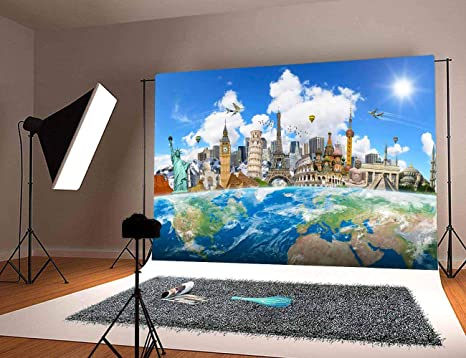Zhy 5x7ft Plaza Tower Backdrop Polyester Photography Background World Vacation Portrait Photo Backdrop Studio Booth Props 384