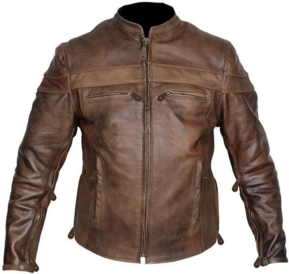 Leather Supreme Men's Retro Brown Motorc Buffalo Hide Cafe service Gifts Racer