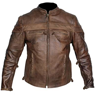 Leather Supreme Men's Buffalo Hide Caf Racer Motorcycle Jacket at ...